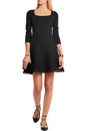 Swiss dot tulle-paneled laser-cut jersey mini dress