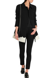 Two-tone scalloped tech-jersey coat