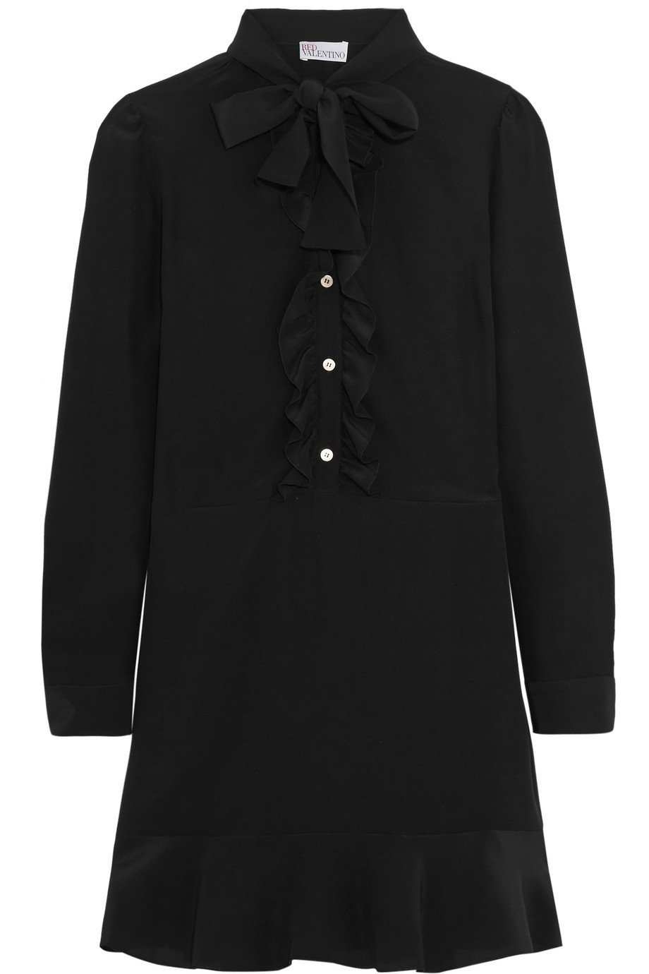 Redvalentino Ruffled Pussy-Bow Silk Crepe De Chine Mini Dress, Black, Women's, Size: 36