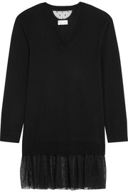 Point d'esprit tulle-trimmed cashmere-blend tunic
