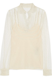 Lace-trimmed point d'esprit tulle blouse