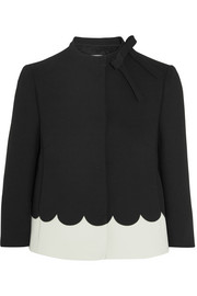 Scalloped crepe jacket