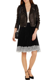 Pleated lace-trimmed point d'esprit skirt
