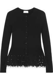 Twill and tulle-trimmed stretch-knit peplum cardigan