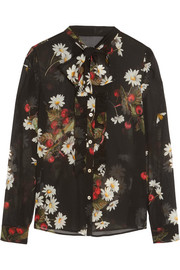Pussy-bow floral-print silk-blend chiffon blouse