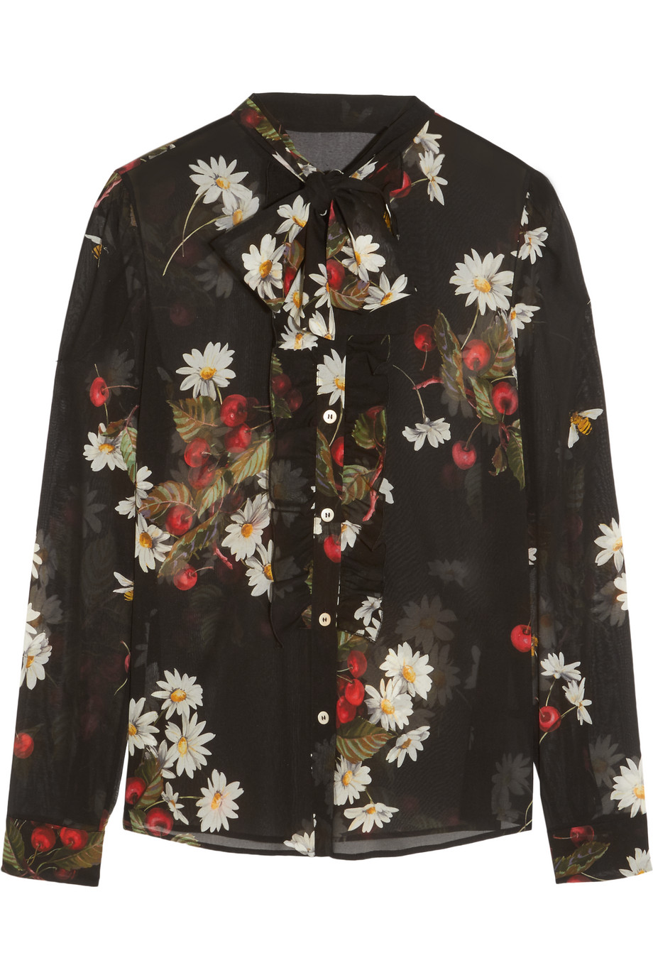 Redvalentino Pussy-Bow Floral-Print Silk-Blend Chiffon Blouse, Black, Women's, Size: 40