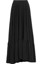 Tiered crepe maxi skirt