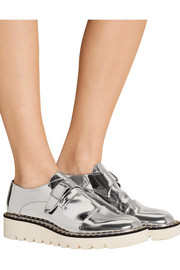 Metallic faux leather brogues