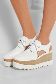 Cutout faux leather platform brogues