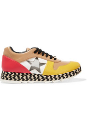 Stella McCartney Faux leather, mesh and raffia sneakers