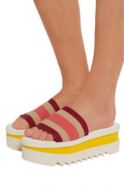Stella McCartney Striped faux leather and canvas platform slides