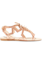 Metallic faux patent-leather sandals