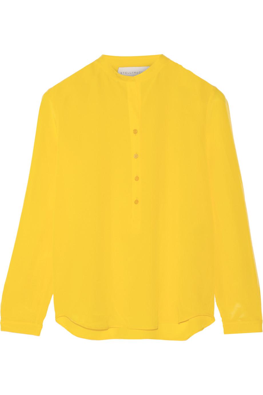 Stella Mccartney Eva Silk Crepe De Chine Blouse, Yellow, Women's, Size: 44