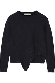 Asymmetric cashmere and silk-blend sweater