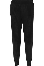 Wool and silk-blend track pants