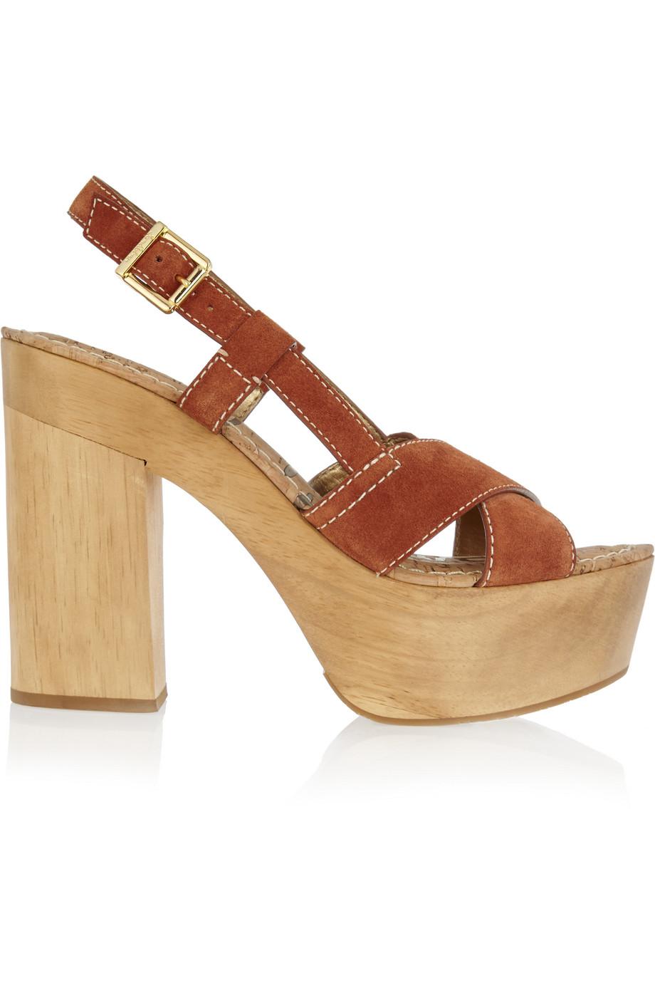 Mae Suede Platform Sandals, Tan, Women's, Size: 9