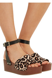 Brynn leopard-print calf hair and leather wedge sandals