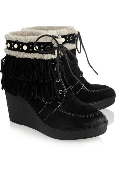 539e0d35906e Sam Edelman. Kemper faux shearling-lined fringed suede wedge boots.  45.  Zoom In