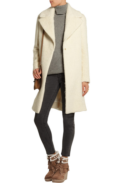 d7278ae67 Sam Edelman. Kemper faux shearling-lined fringed suede wedge boots
