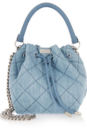 Stella McCartney Beckett small quilted denim bucket bag