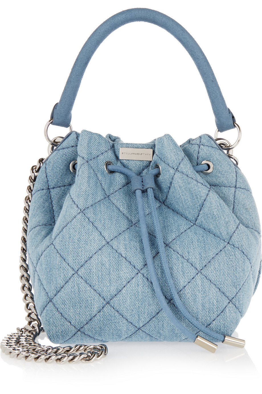 Stella Mccartney Beckett Small Quilted Denim Bucket Bag, Blue, Women's, Size: One Size
