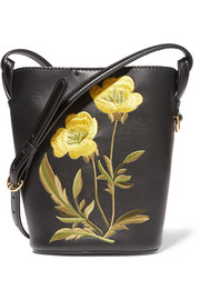 Embroidered faux leather shoulder bag