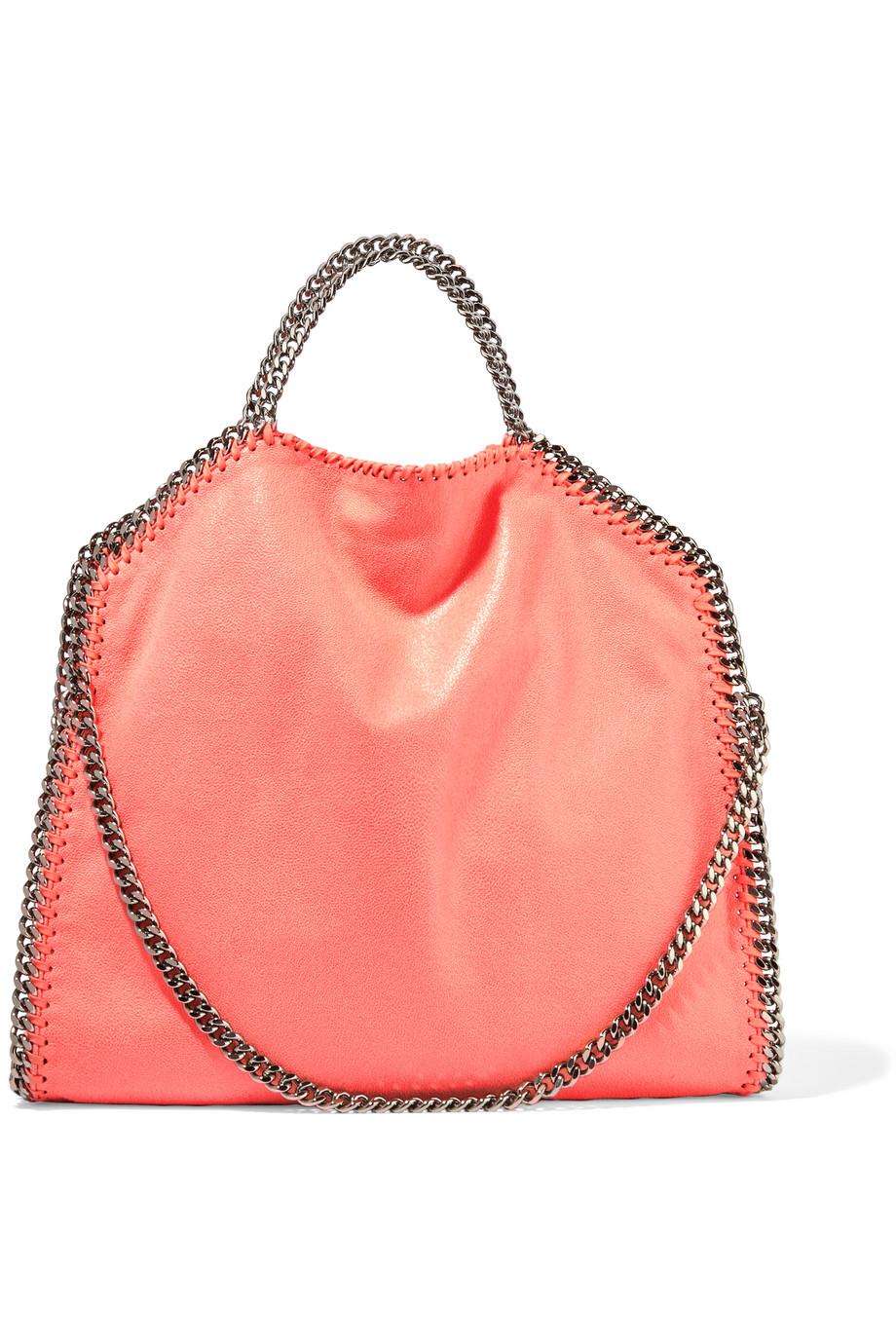 Stella Mccartney The Falabella Large Faux Brushed-Leather Shoulder Bag, Coral, Women's