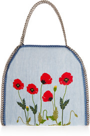 The Falabella large embroidered denim shoulder bag