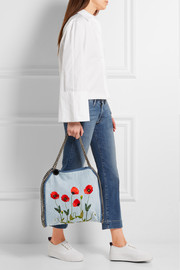 Stella McCartney The Falabella large embroidered denim shoulder bag