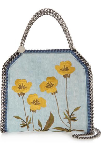 dff451d0256 Stella McCartney   The Falabella mini embroidered denim shoulder bag ...