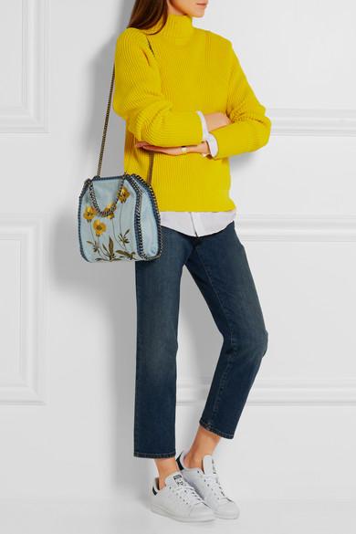 9e383c89b3be Stella McCartney. The Falabella mini embroidered denim shoulder bag