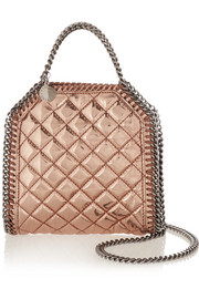 Stella McCartney The Falabella tiny metallic faux patent-leather shoulder bag
