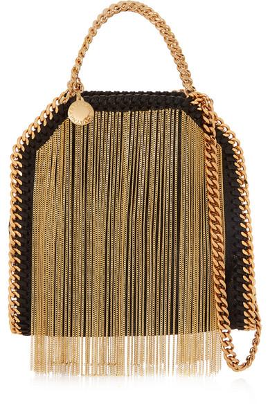 c1c8b28703d6 Stella McCartney. The Falabella tiny fringed faux brushed-leather shoulder  bag