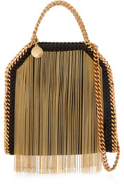 Stella McCartney The Falabella tiny fringed faux brushed-leather shoulder bag