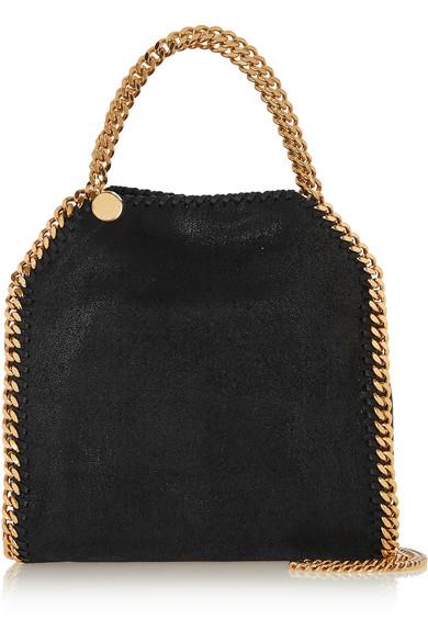 stella mccartney female stella mccartney the falabella mini faux brushedleather shoulder bag black
