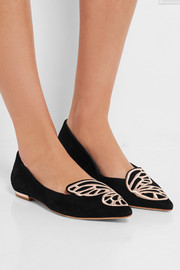 Bibi Butterfly embroidered suede point-toe flats