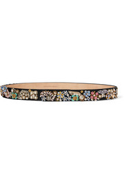 Embellished satin and leather belt