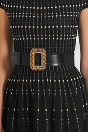 Alexander McQueen Crystal-embellished leather waist belt