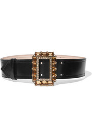 Crystal-embellished leather waist belt