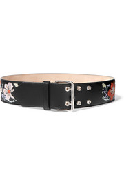 Floral-embroidered leather belt