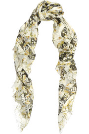 Printed silk and modal-blend scarf