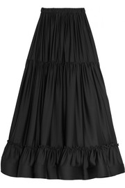 Elsa tiered silk maxi skirt