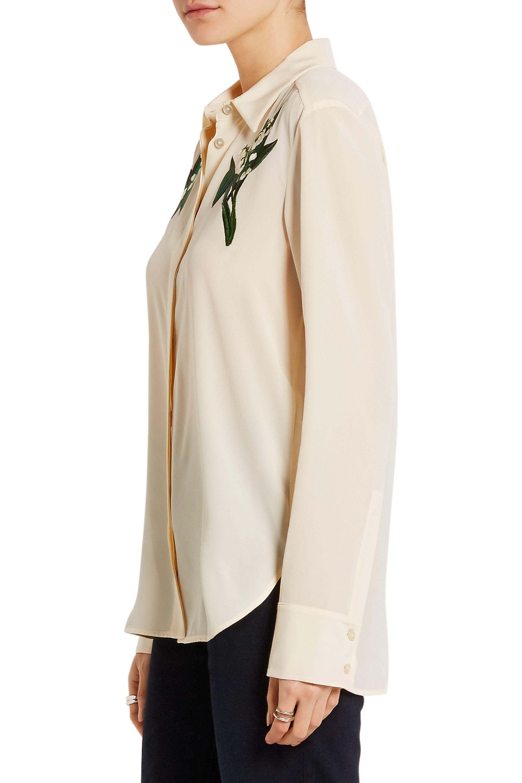 Stella McCartney Embroidered silk crepe de chine shirt