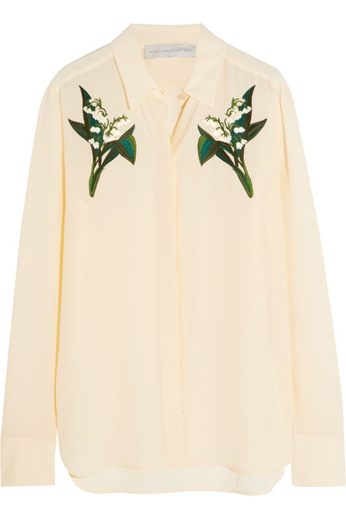 00bcd186b7804d Stella McCartney. Embroidered silk crepe de chine shirt