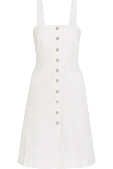 Stella McCartney - Linda Embroidered Stretch-denim Dress - White