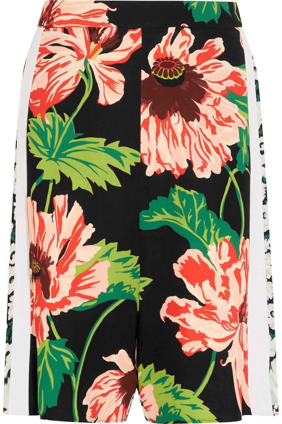 Stella Mccartney Zandra Floral-Print Stretch-Crepe Shorts, Pink/Green, Women's, Size: 40
