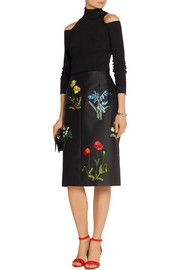 Stella McCartney Renee embroidered twill skirt