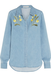 Theres embroidered stretch-denim shirt