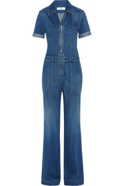 Stretch-denim jumpsuit