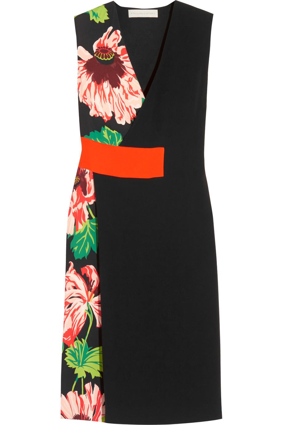 Stella Mccartney Agnes Floral-Print Stretch-Crepe Wrap-Effect Dress, Black/Green, Women's - Floral, Size: 36